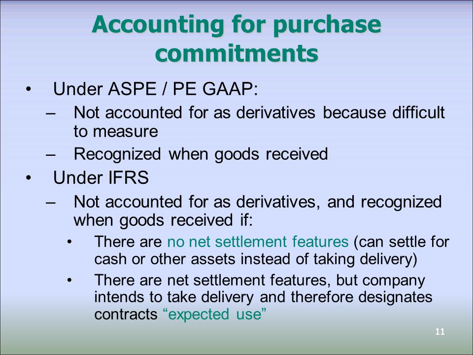 Accounting for purchase commitments