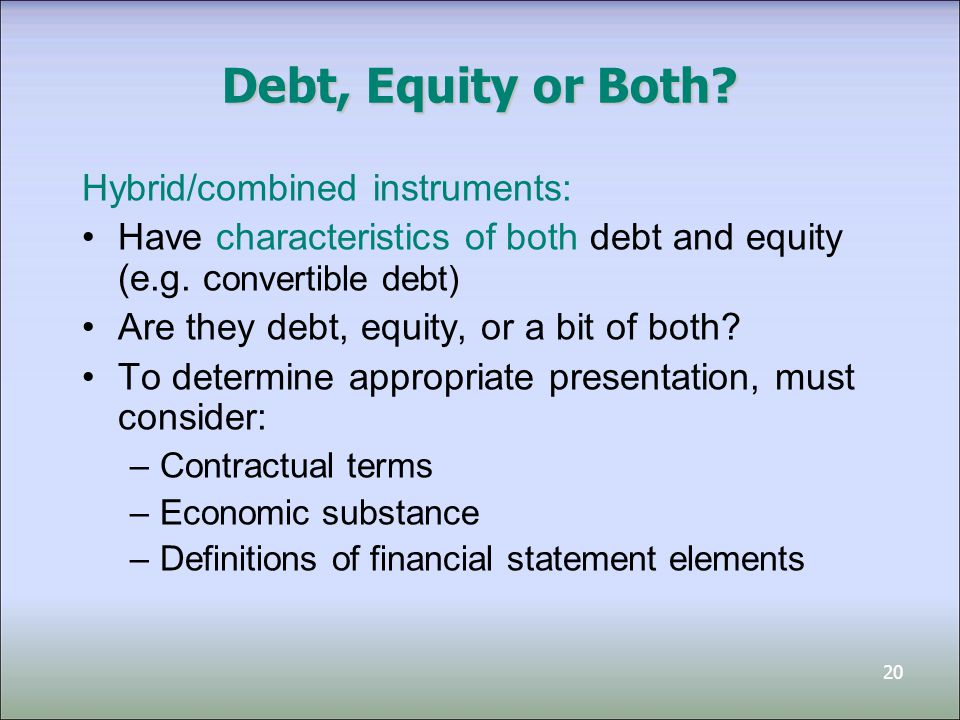 Debt, Equity or Both Hybrid/combined instruments: