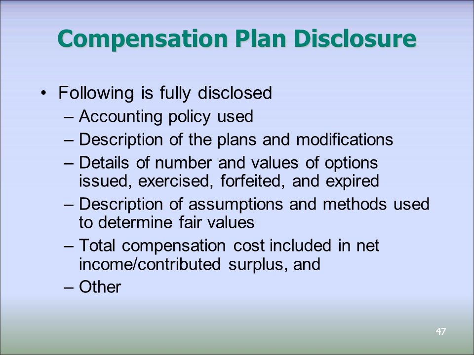 Compensation Plan Disclosure