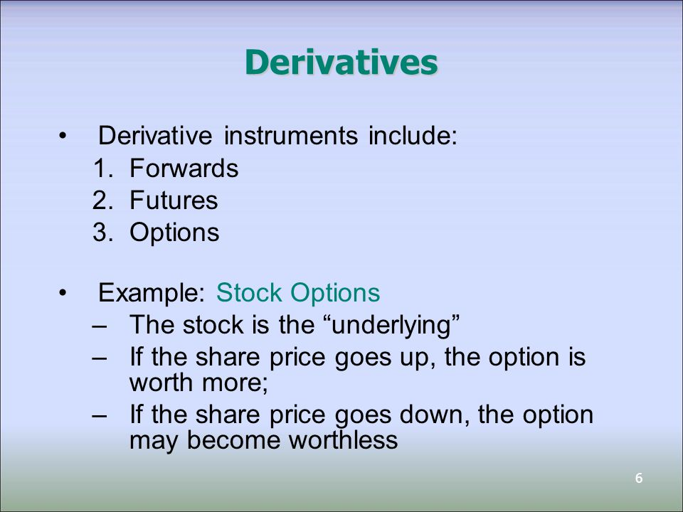 Derivatives Derivative instruments include: Forwards Futures Options