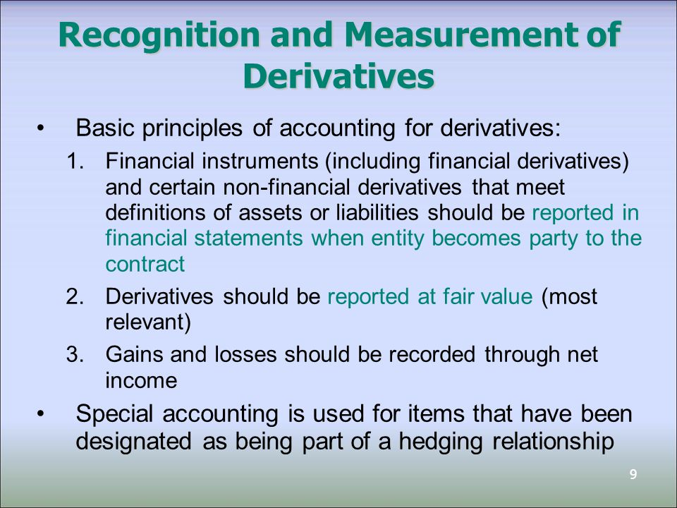 Recognition and Measurement of Derivatives