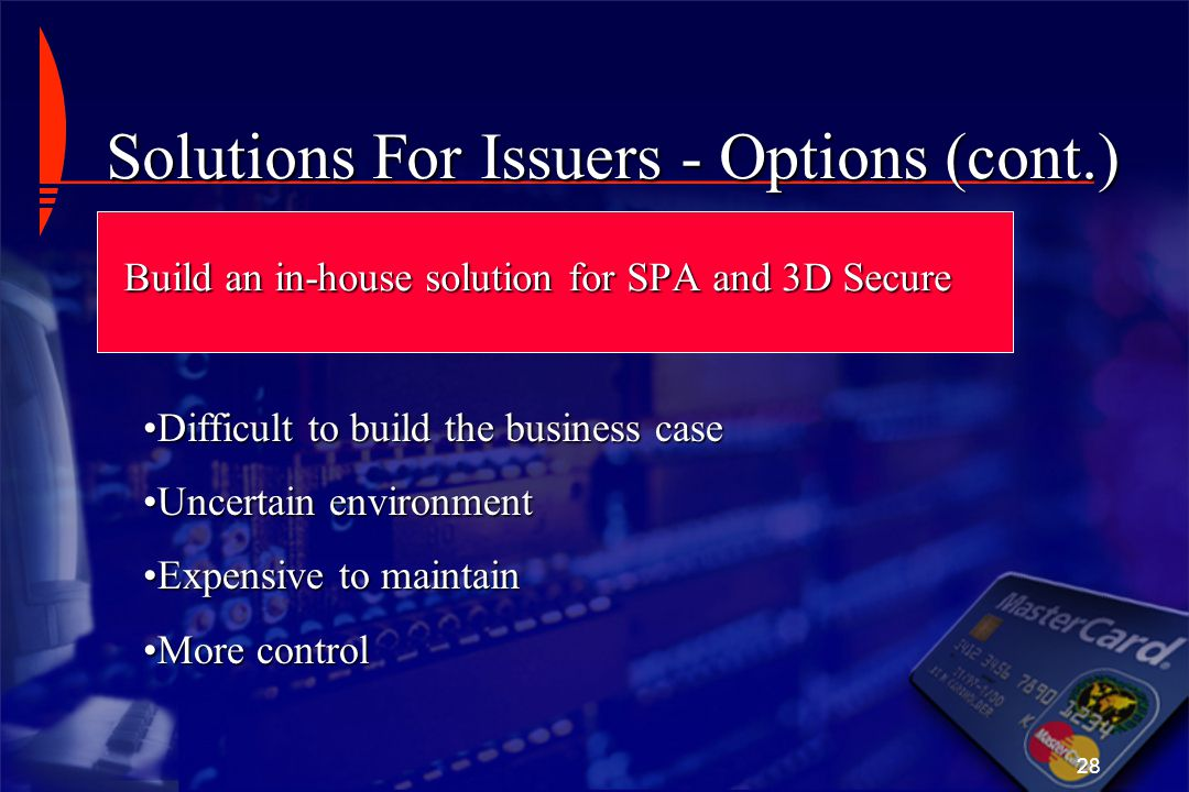 Solutions For Issuers - Options (cont.)