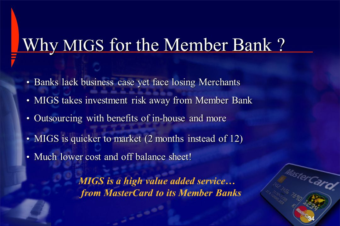 Why MIGS for the Member Bank