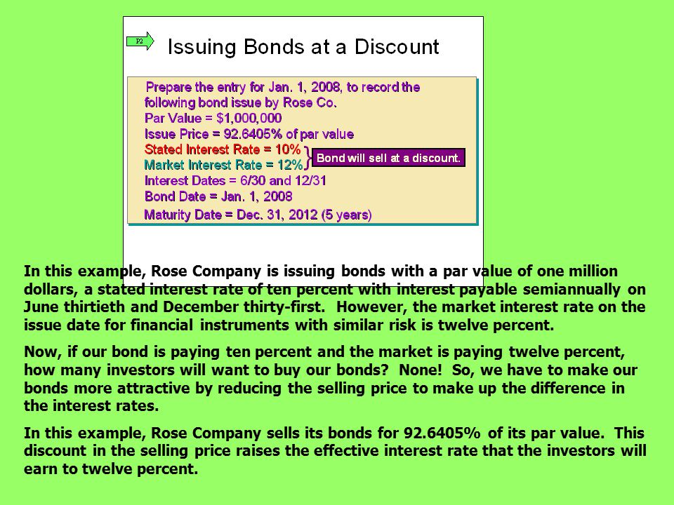 In this example, Rose Company is issuing bonds with a par value of one million dollars, a stated interest rate of ten percent with interest payable semiannually on June thirtieth and December thirty-first. However, the market interest rate on the issue date for financial instruments with similar risk is twelve percent.