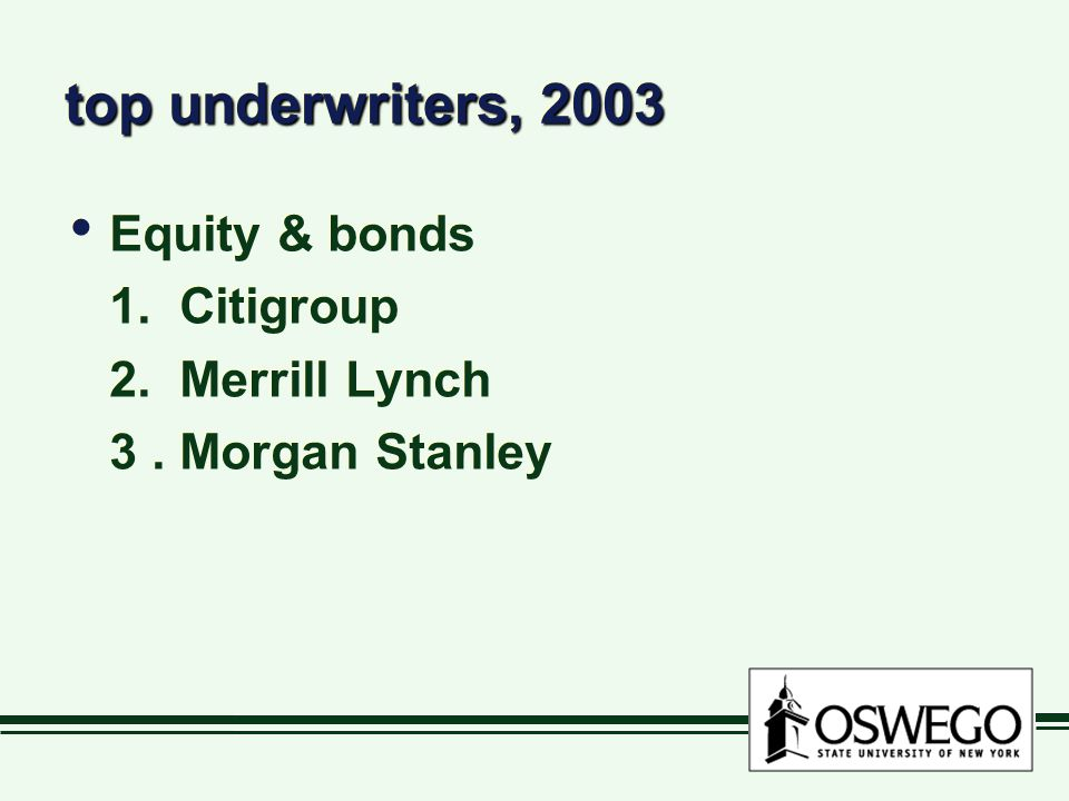 top underwriters, 2003 Equity & bonds 1. Citigroup 2. Merrill Lynch