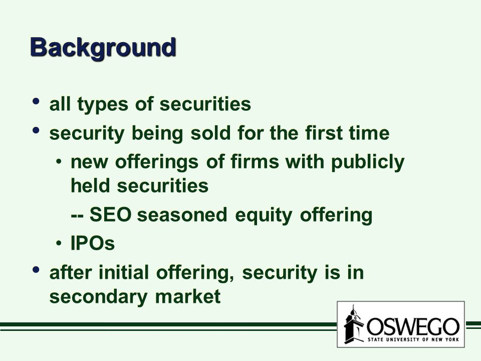 Background all types of securities