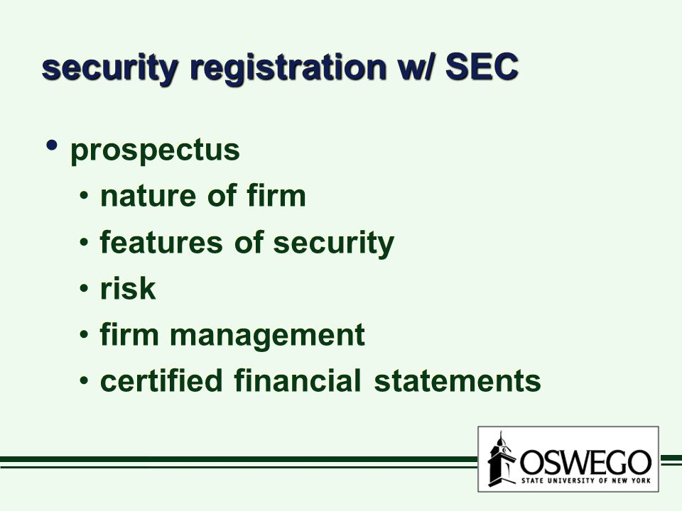 security registration w/ SEC