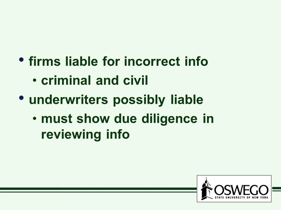 firms liable for incorrect info