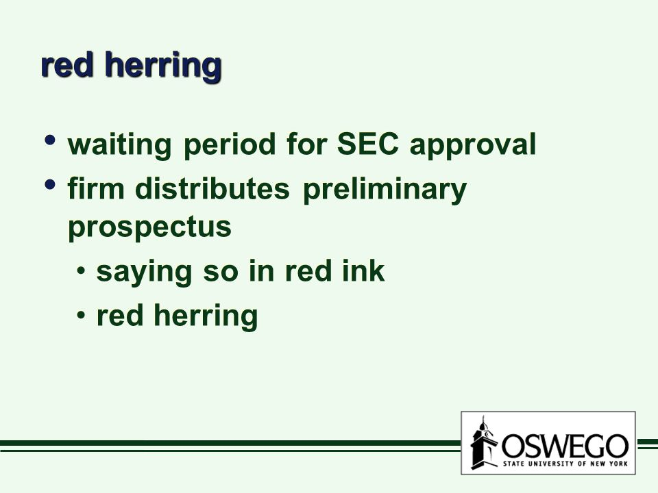 red herring waiting period for SEC approval