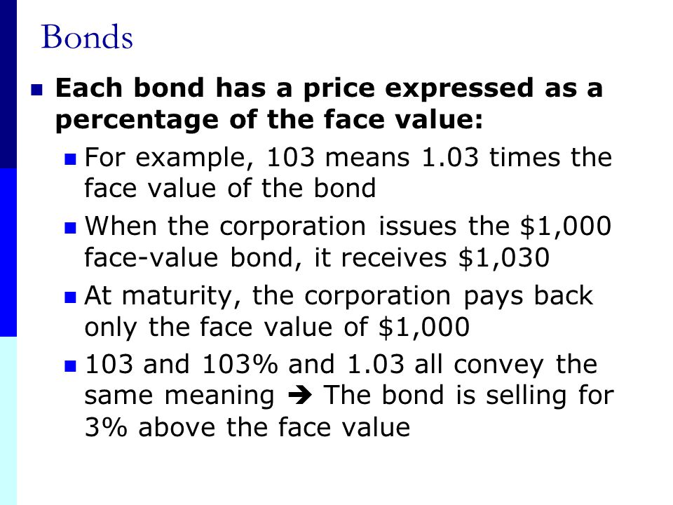 Bonds Each bond has a price expressed as a percentage of the face value: For example, 103 means 1.03 times the face value of the bond.