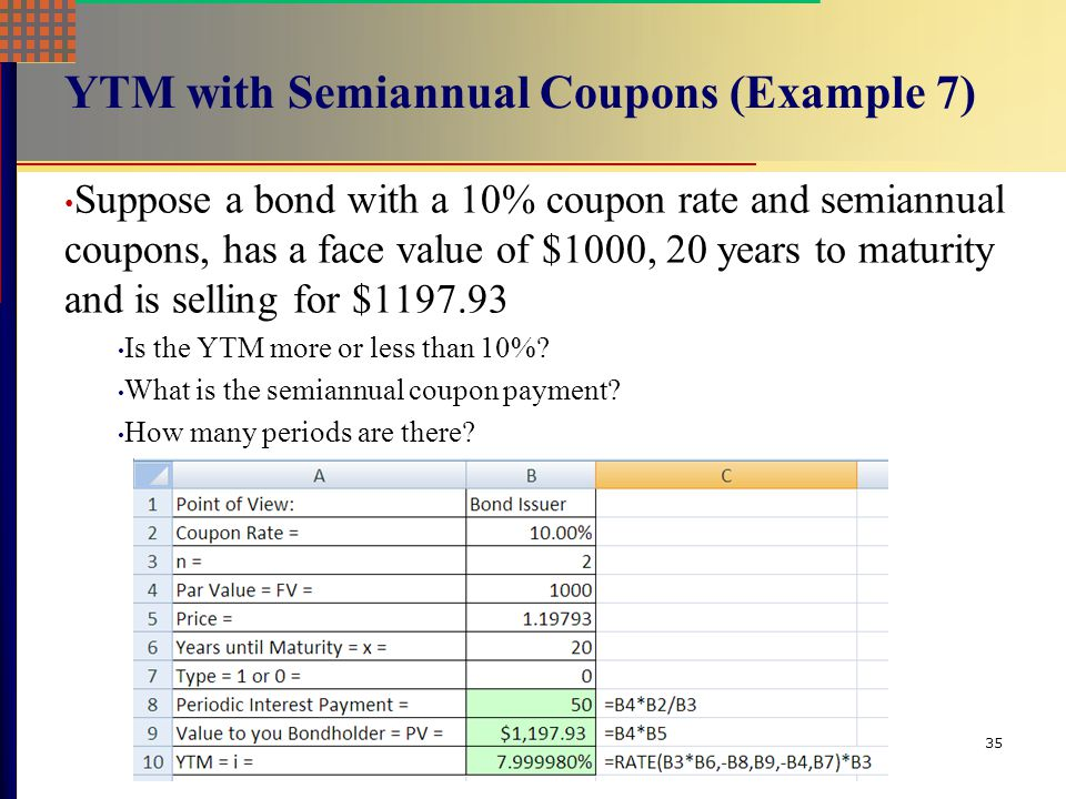 YTM with Semiannual Coupons (Example 7)