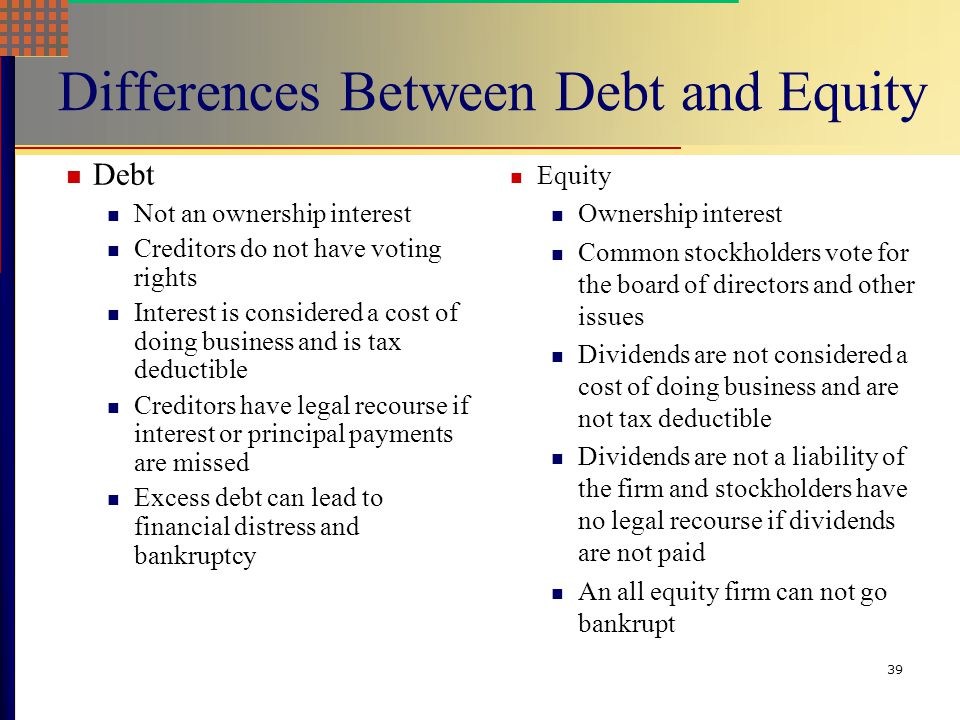 Differences Between Debt and Equity