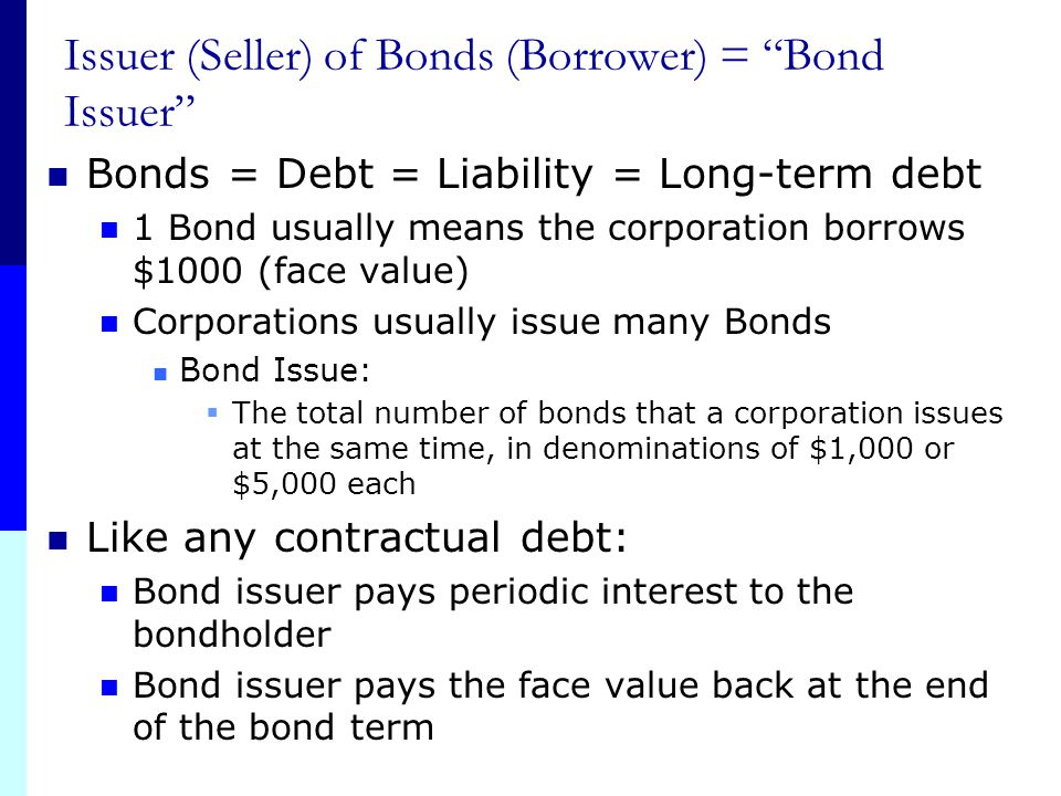 Issuer (Seller) of Bonds (Borrower) = Bond Issuer
