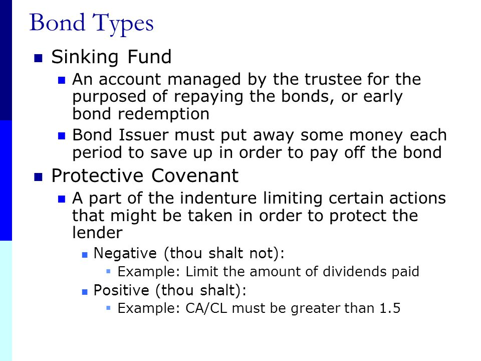 Bond Types Sinking Fund Protective Covenant