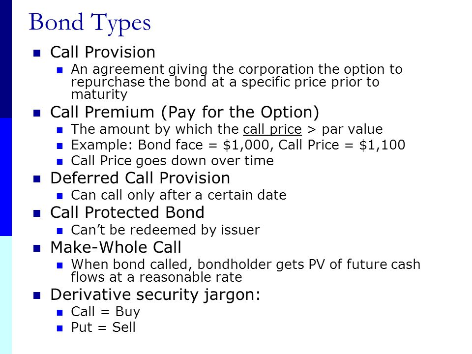 Bond Types Call Provision Call Premium (Pay for the Option)