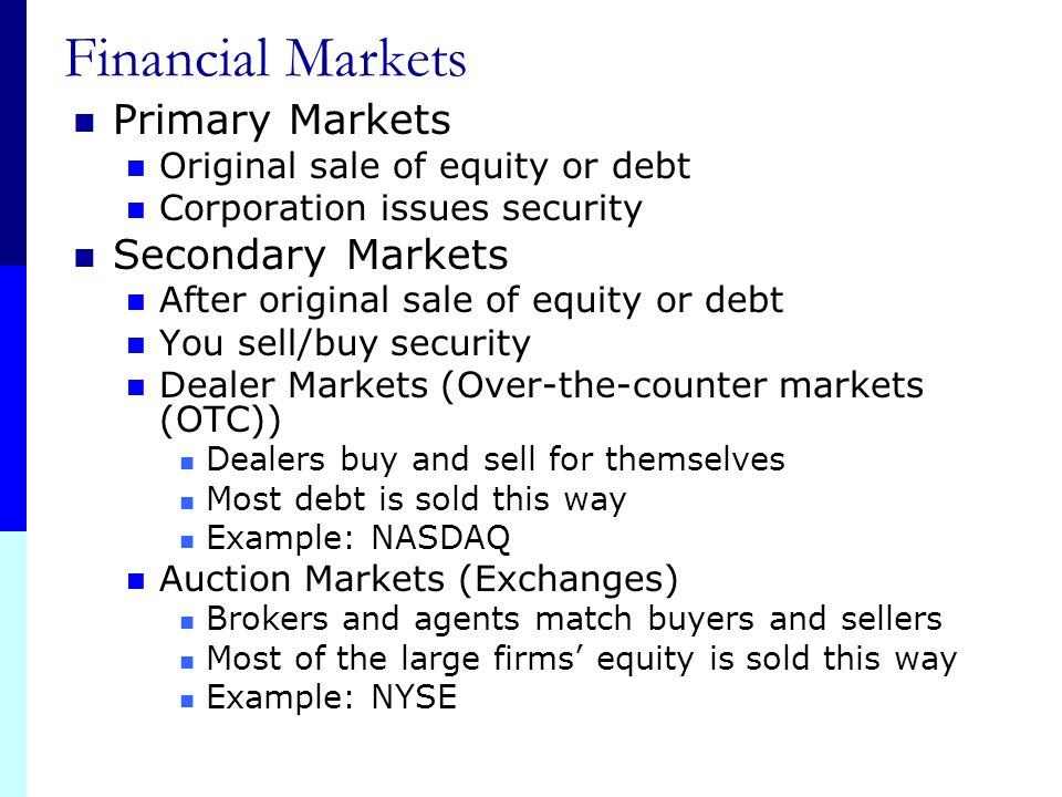 Financial Markets Primary Markets Secondary Markets