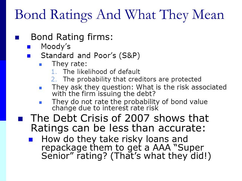 Bond Ratings And What They Mean