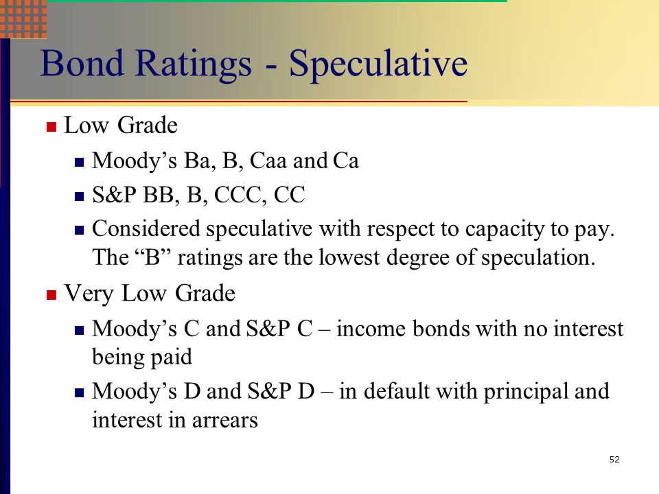 Bond Ratings - Speculative