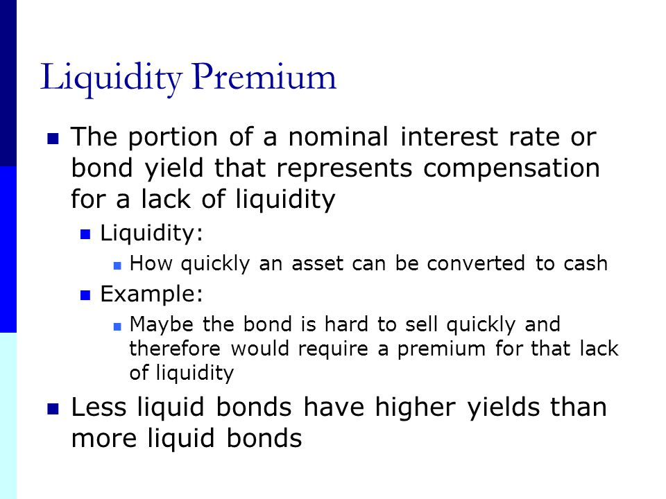 Liquidity Premium The portion of a nominal interest rate or bond yield that represents compensation for a lack of liquidity.
