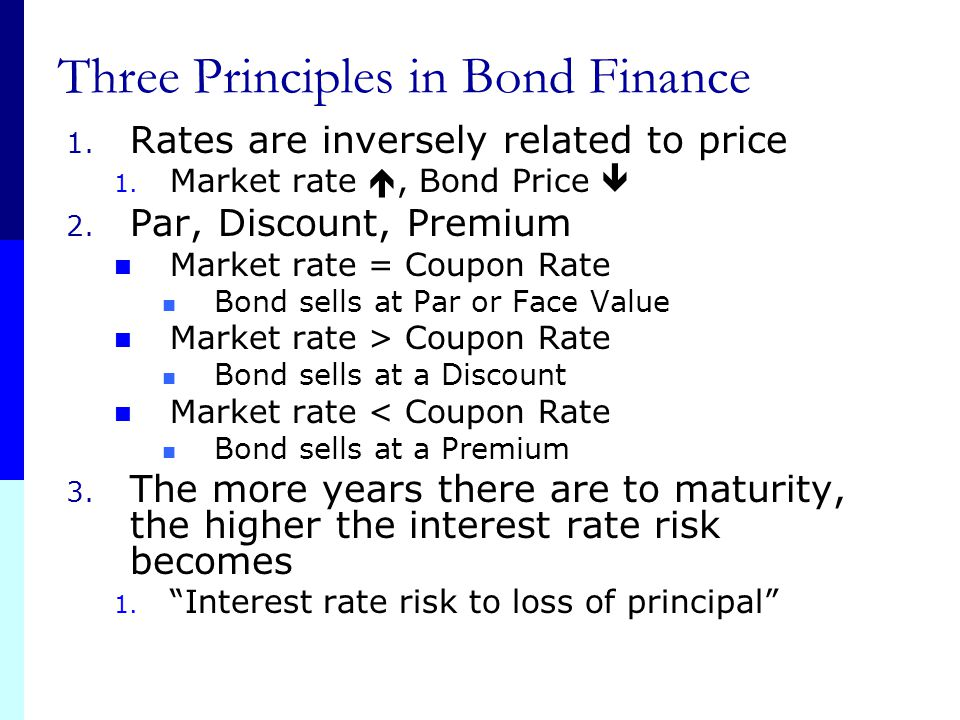 Three Principles in Bond Finance