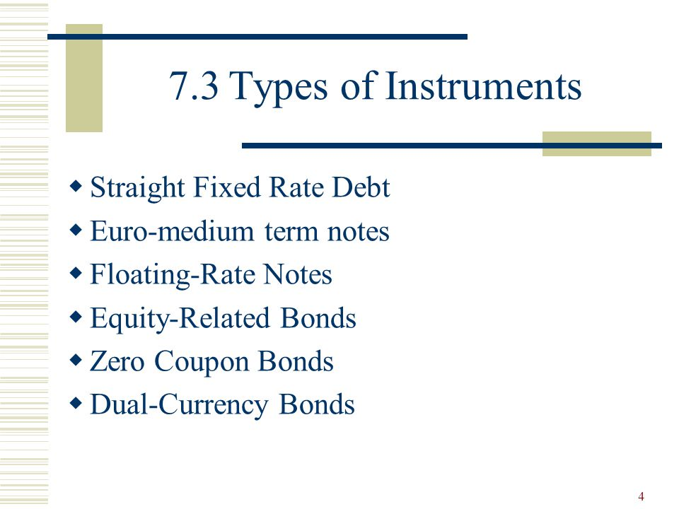 7.3 Types of Instruments Straight Fixed Rate Debt