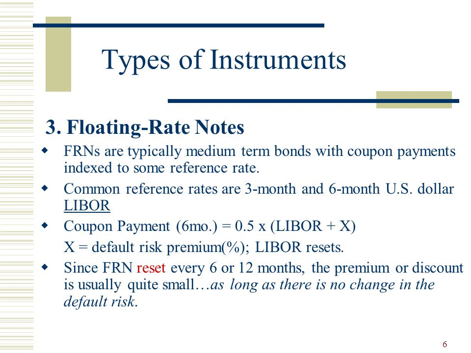 Types of Instruments 3. Floating-Rate Notes