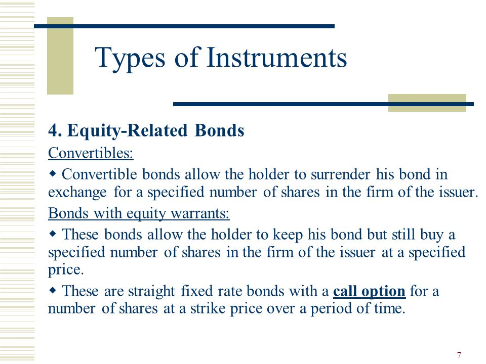 Types of Instruments 4. Equity-Related Bonds Convertibles: