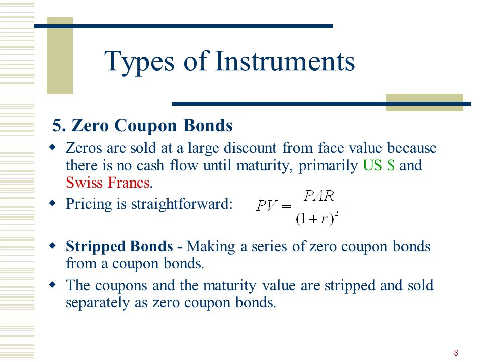 Types of Instruments 5. Zero Coupon Bonds