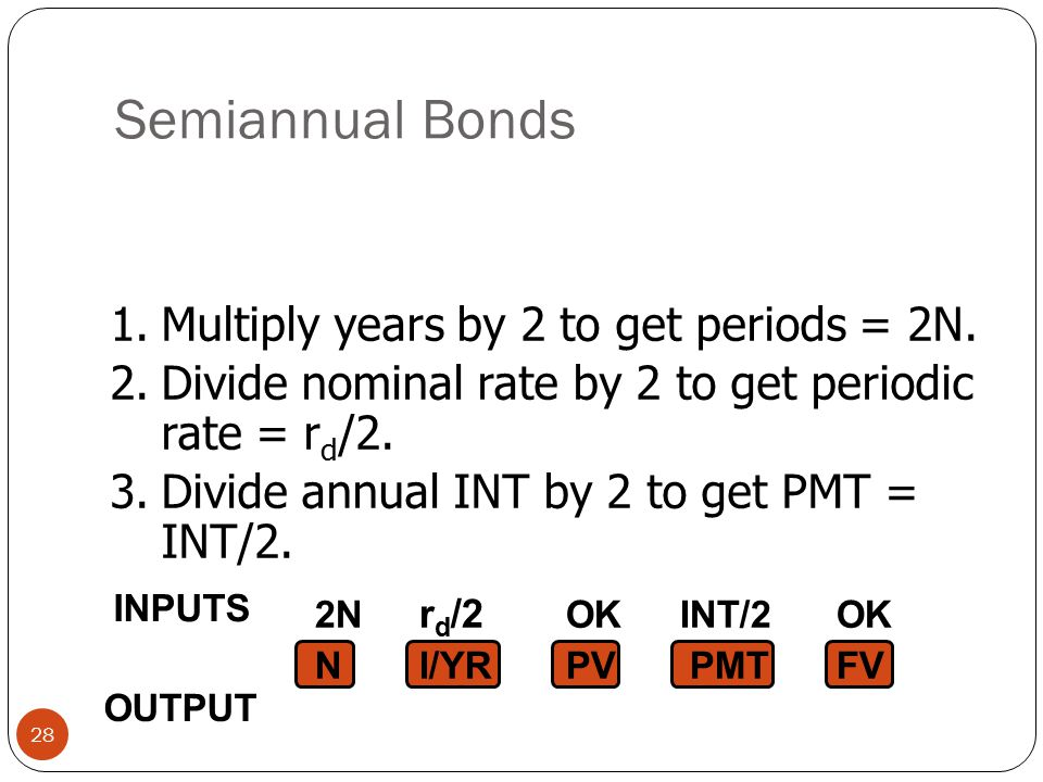 Semiannual Bonds 1. Multiply years by 2 to get periods = 2N.