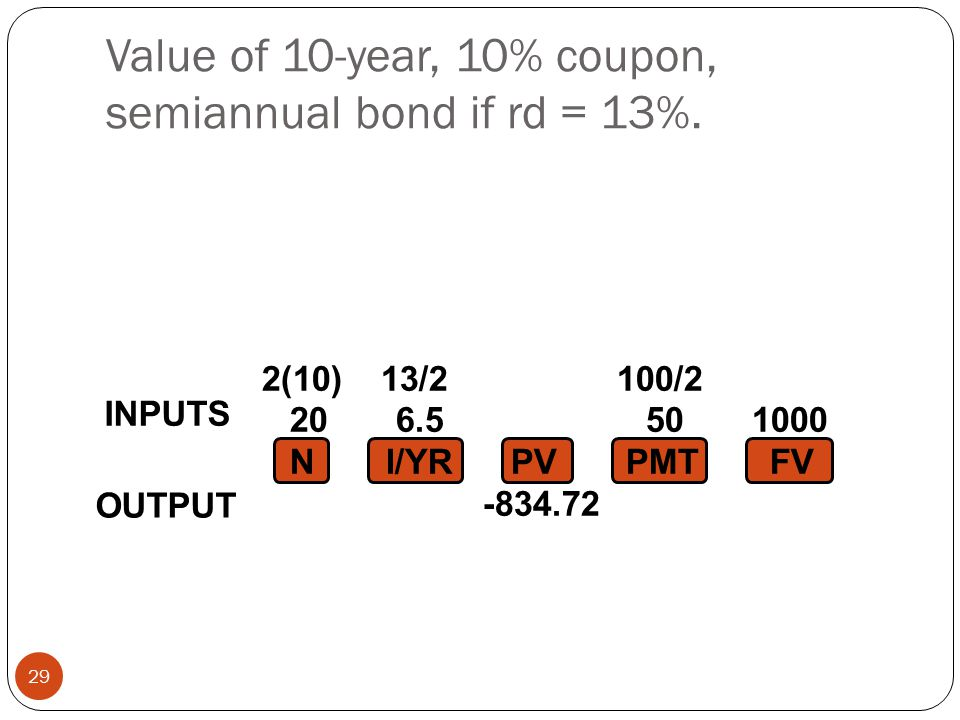 Value of 10-year, 10% coupon, semiannual bond if rd = 13%.