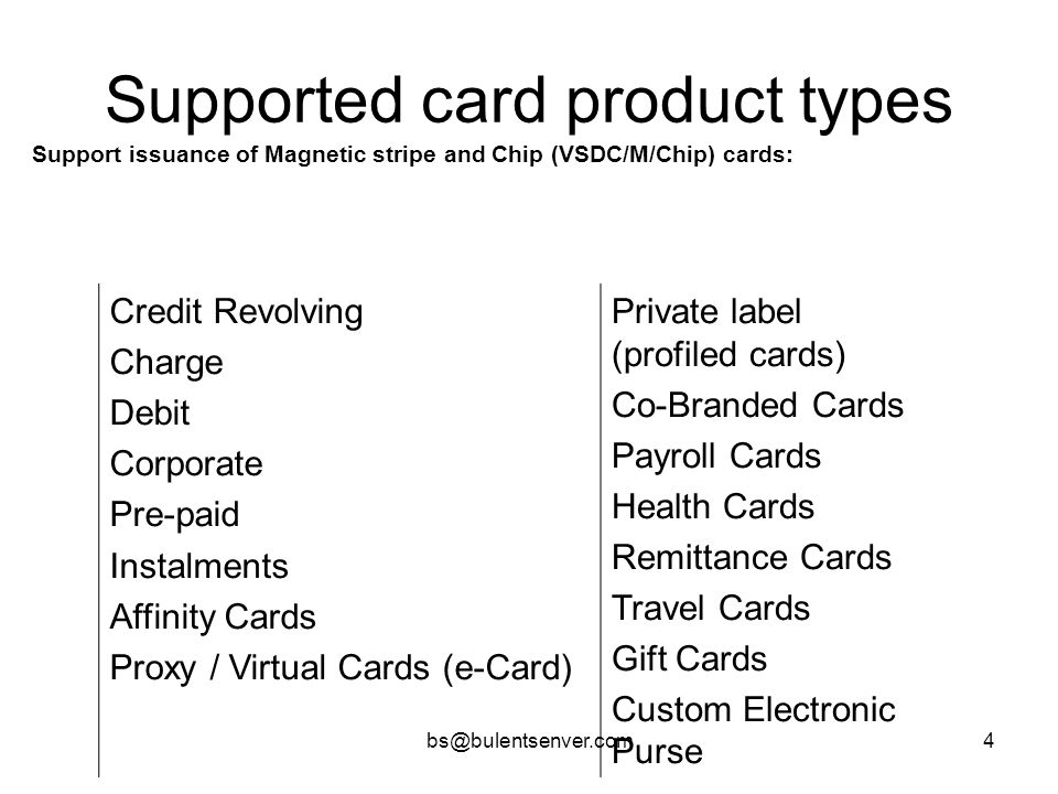 Supported card product types