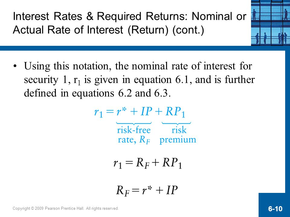 Interest Rates & Required Returns: Nominal or Actual Rate of Interest (Return) (cont.)