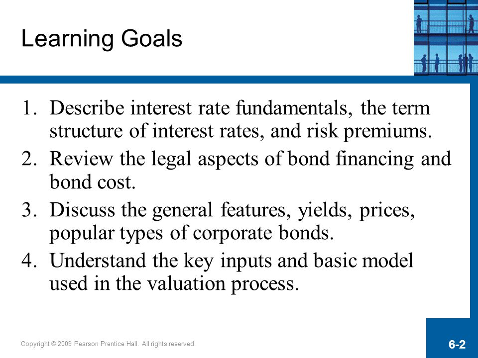 Learning Goals Describe interest rate fundamentals, the term structure of interest rates, and risk premiums.