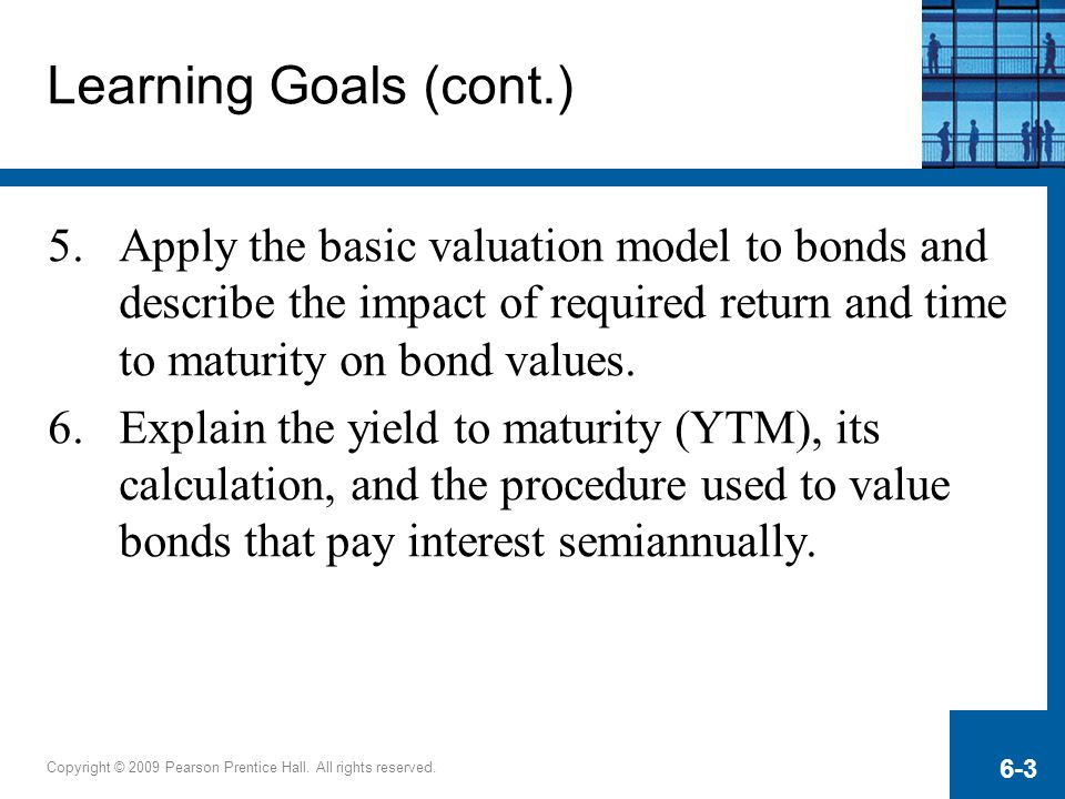 Learning Goals (cont.) Apply the basic valuation model to bonds and describe the impact of required return and time to maturity on bond values.