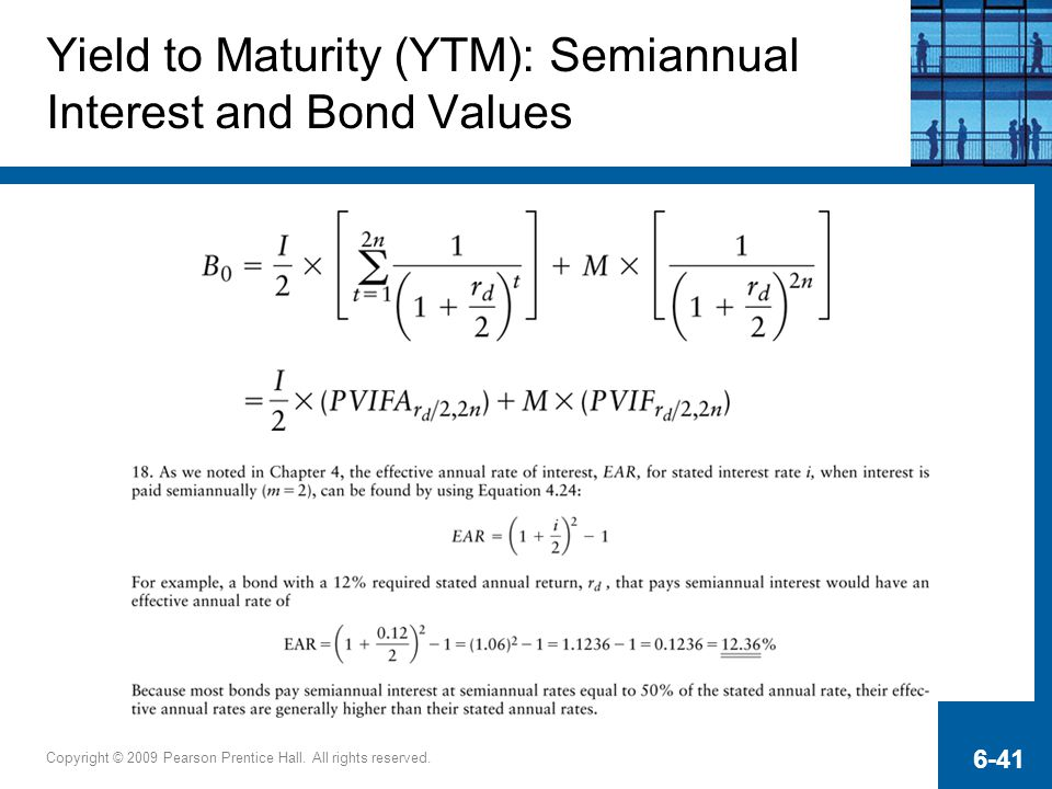 Yield to Maturity (YTM): Semiannual Interest and Bond Values