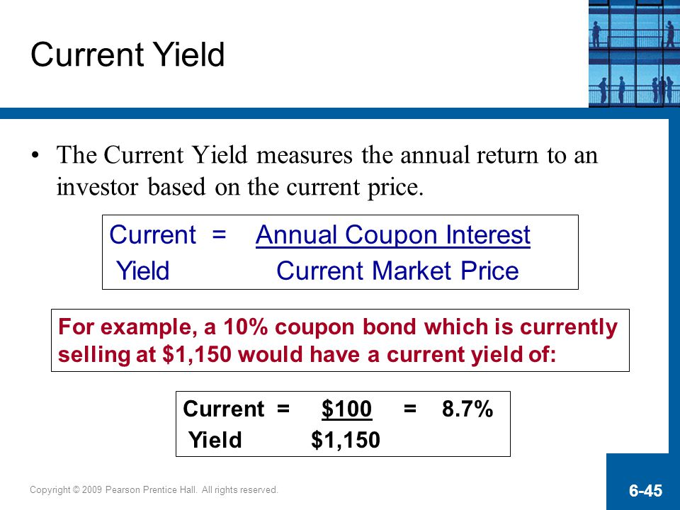 Current Yield The Current Yield measures the annual return to an investor based on the current price.