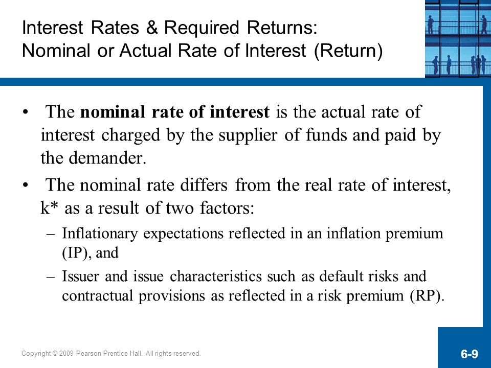 Interest Rates & Required Returns: Nominal or Actual Rate of Interest (Return)