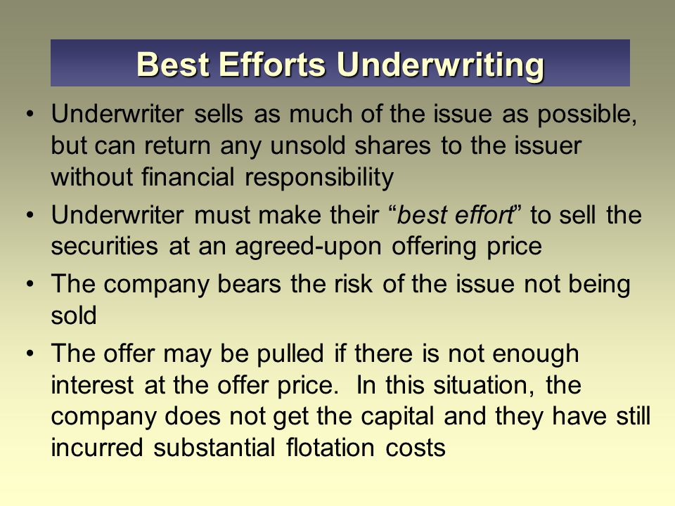 Best Efforts Underwriting