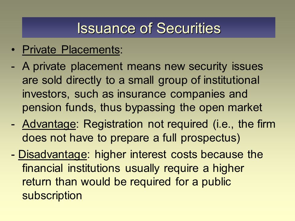 Issuance of Securities
