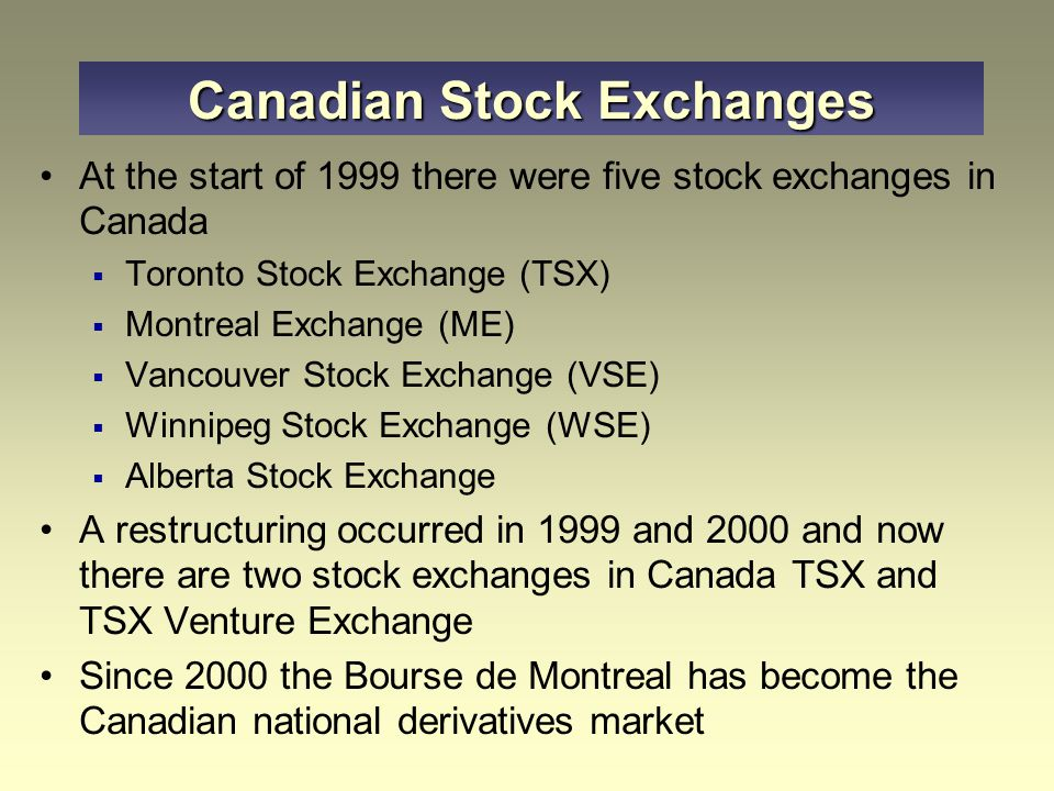 Canadian Stock Exchanges