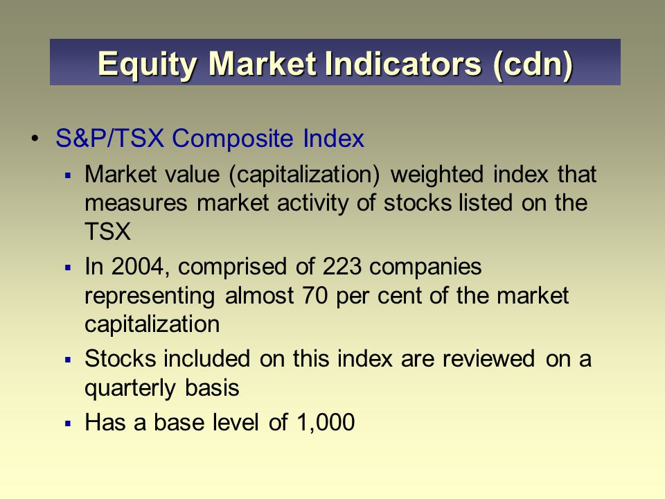 Equity Market Indicators (cdn)