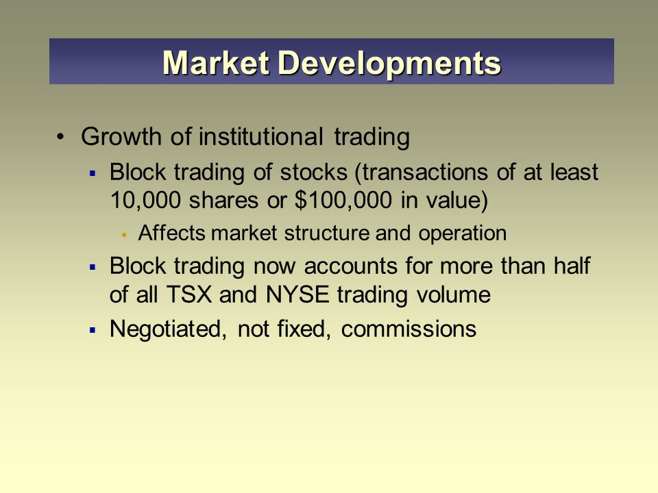 Market Developments Growth of institutional trading
