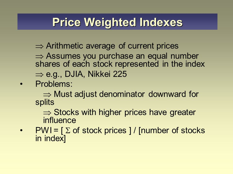 Price Weighted Indexes