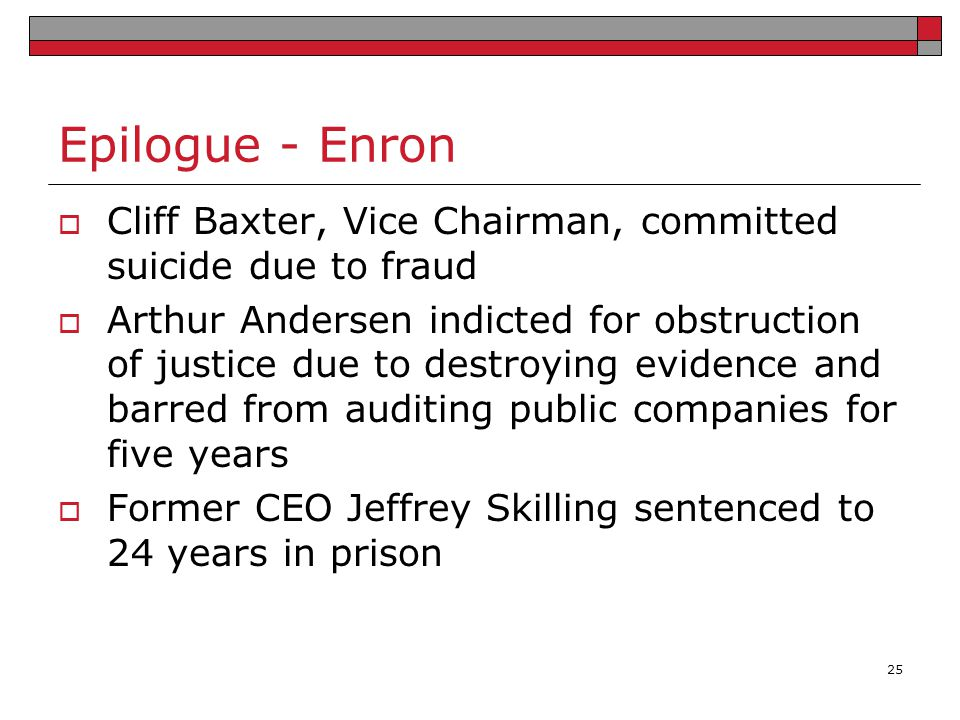 Epilogue - Enron Cliff Baxter, Vice Chairman, committed suicide due to fraud.