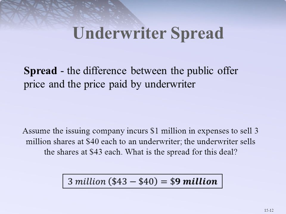 Underwriter Spread Spread - the difference between the public offer price and the price paid by underwriter.