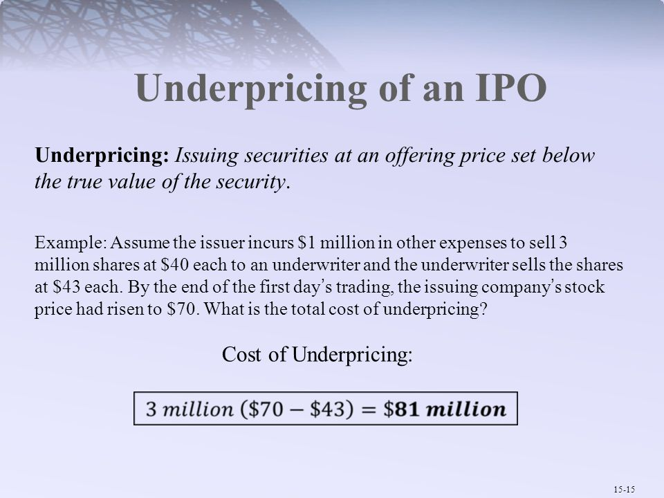 Underpricing of an IPO Underpricing: Issuing securities at an offering price set below the true value of the security.
