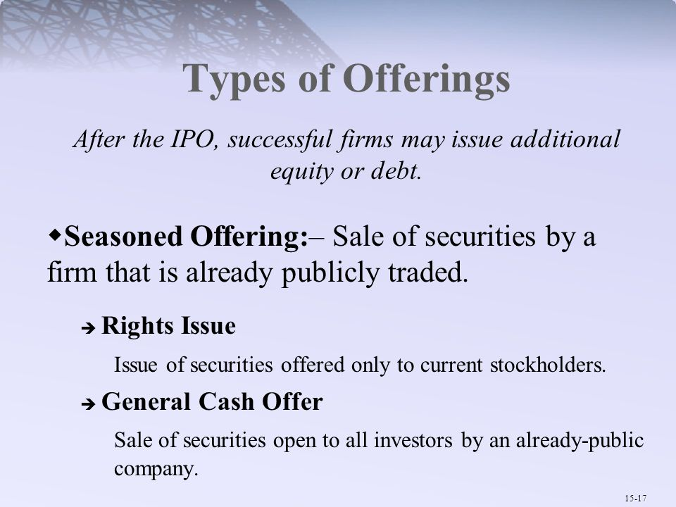 After the IPO, successful firms may issue additional equity or debt.
