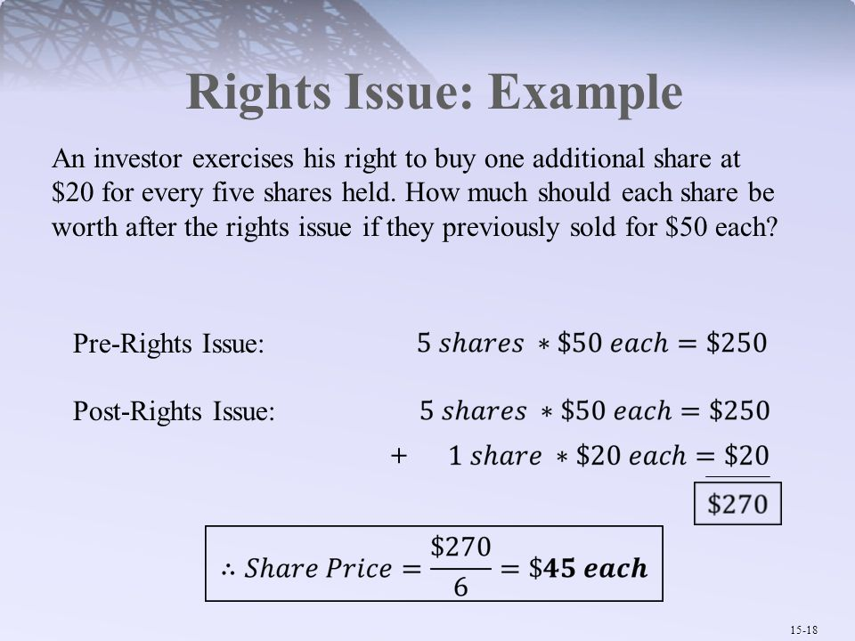 Rights Issue: Example
