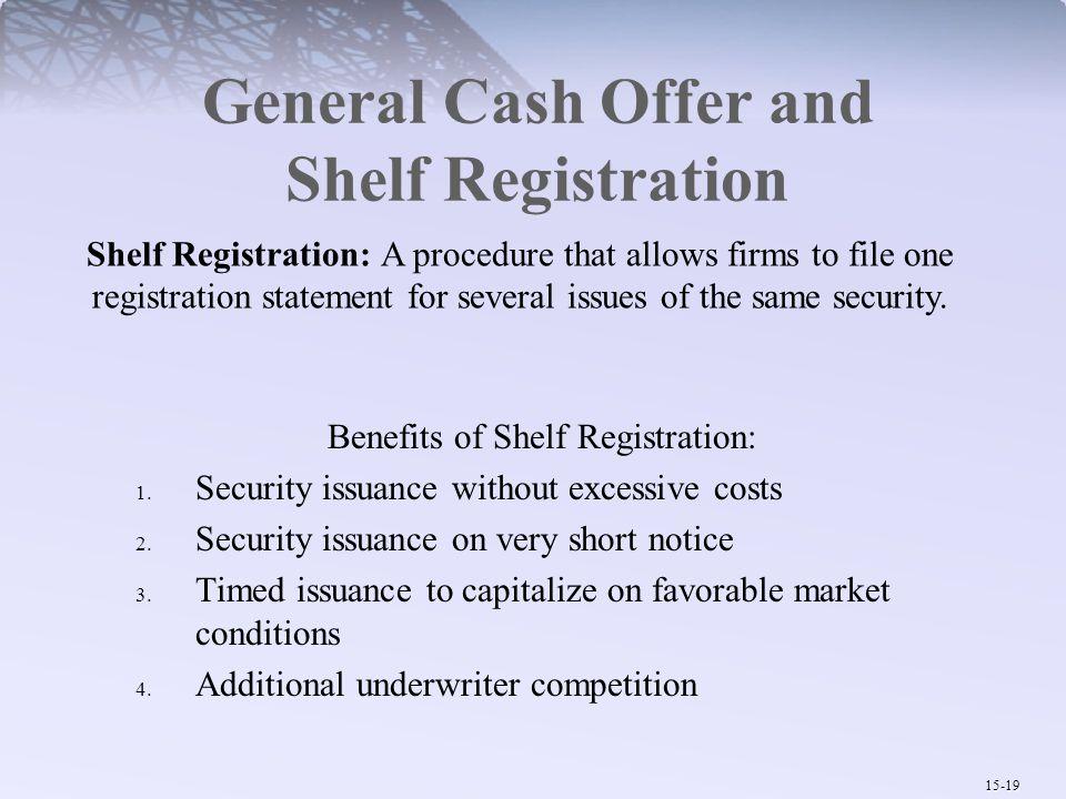 General Cash Offer and Shelf Registration