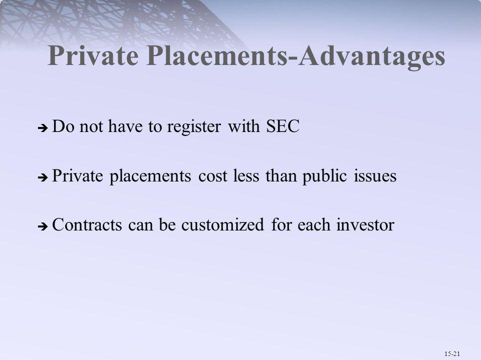 Private Placements-Advantages
